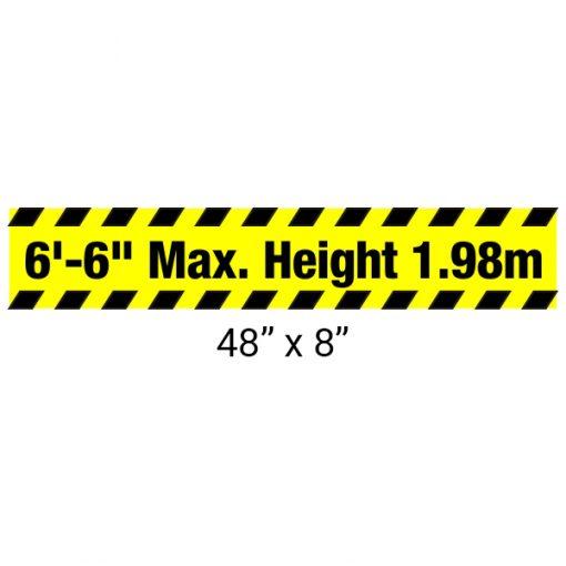 "Heavy Duty Aluminum Bar with ""Maximum Height"" Sign 48″ x 8″"